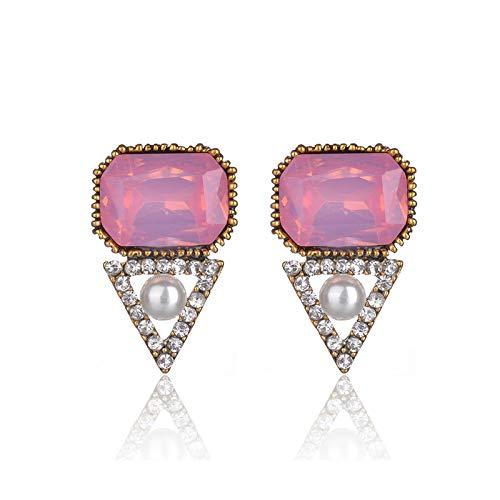 Kashino Pendientes de tuerca de piedra de ópalo de cristal de la moda de las mujeres pendientes de fiesta de Navidad 2018 marca elegante pendientes de cristal para las mujeres de regalo ópalo rosa -