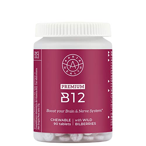 Vitamina B12 Vegana y Masticable (1000mg) con Arándanos Nórdicos - Aumenta tu Energia y Glóbulos rojos - Sin Estearato por Aarja Health