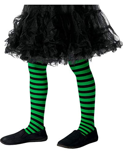 Horror-Shop Gestreifte Kinderstrumpfhose grün-schwarz für Fasching & Halloween