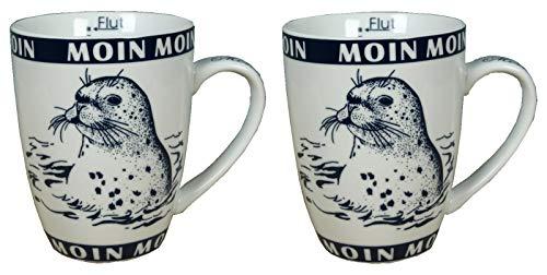 2 x Porzellan Becher mit Seehund Moin Moin Ebbe+Flut Inhalt 300ml Kaffeebecher Tasse maritimes Motiv (1252)
