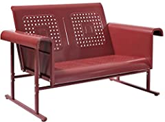 Retro metal design adds timeless style to any space Sturdy steel construction ensures the glider can be enjoyed for years to come Designed to withstand the elements with a non-toxic powder coated finish Smooth glide rocking mechanism provides an effo...