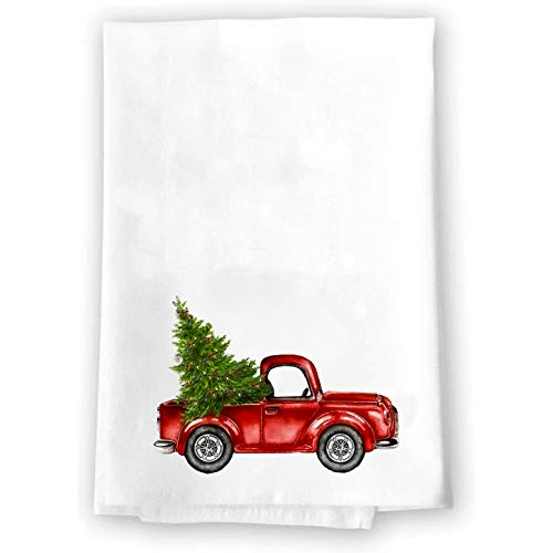 Decorative Kitchen and Bath Hand Towels | Rustic Red Truck With Christmas Tree | White Towel Home Decor Holiday Decorations | XMAS Gift Present