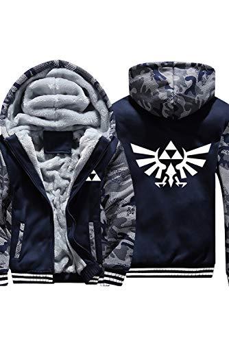Xiemushop Herren Winter Kapuzen Pullover Plus Thinck Zip Jacke Mantel Samt Sweatshirt Top Link Cosplay Kostüm Kleidung für Erwachsene