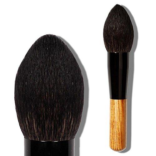 Brosse à maquillage pour brosse à laine fine en paille fine, poignée en bois