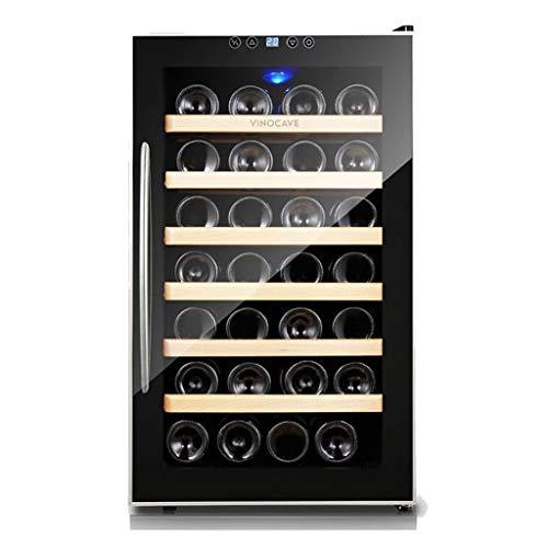 Refroidisseur à vin thermoélectrique de 28 bouteilles - Refroidisseur de vin à thermostat intelligent - Refroidisseur de cigares - Cellier à vin de comptoir avec écran LCD