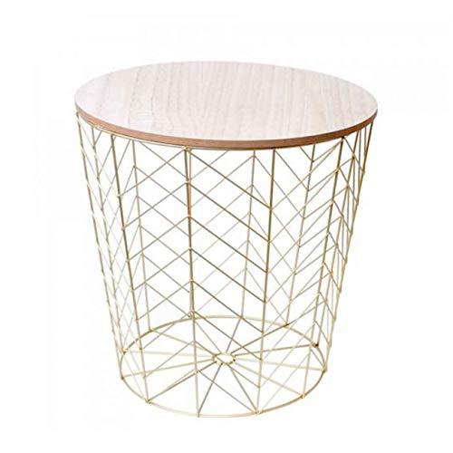 Designer Beistelltisch - Metall Korb Gold mit Holz Deckel - Sofatisch mit Korbablage in Gold