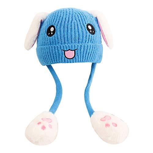 Manman Gorro Tejido con Bordado de Cara de Conejo Lindo para niños airbag Orejas móviles Azul