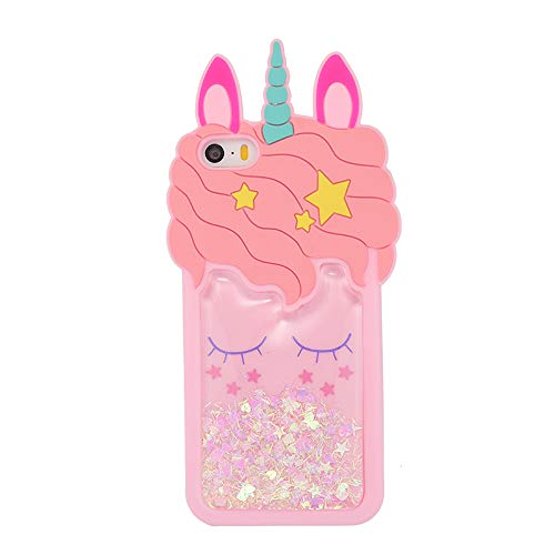 iFunny Case for iPhone 4,Case for iPhone 4S,Fashion Cute 3D Cartoon Animal Quicksand Unicorn Cover,Bling Stars Kids Girls Women Soft Kawaii Phone Case for iPhone 4 4S (Quicksand Unicorn)