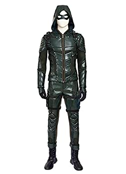 O-O Cosplay Mens PU Leather Battle Suit Halloween Cosplay Costume Full Set  Man-M Green