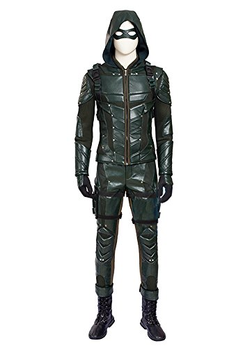 O-O Cosplay Mens PU Leather Battle Suit Halloween Cosplay Costume Full Set (Man-L, Green)