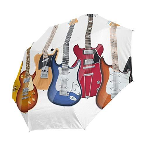 Ahomy Guitarras eléctricas plegable paraguas lluvia viento automático bloqueador solar compacto viaje...