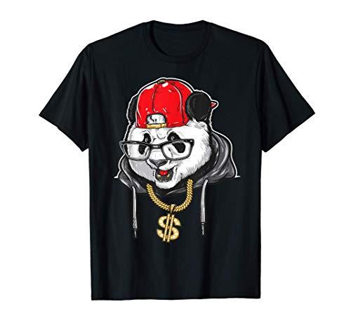 Regalo di ballo rap a catena segno di dollaro panda hip hop Maglietta
