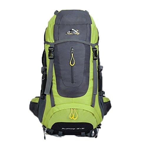 OHmais Unisexe Sac à dos Randonnée Alpinisme Imperméable Grande Contenance Escalade Trekking avec Housse de Pluie 70L en oxford Idéal pour voyage