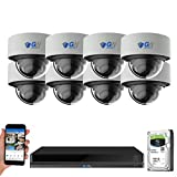 GW 16 Channel 4K NVR 8MP (3840x2160) H.265+ Color Night Vision Smart AI Security Camera System - 8 x UltraHD 4K Human Detection PoE IP Microphone Dome Camera - 8MP (Two Times The Resolution of 4MP)