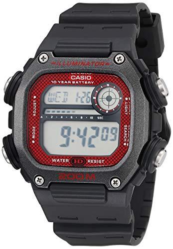 Casio Reloj de cuarzo con batería de 10 años con correa de resina, negro, 27.2 (Modelo: DW-291H-1BVCF)