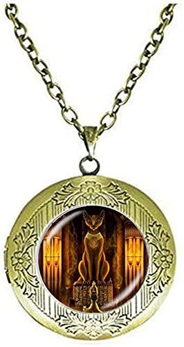 Collar con medallón de estatua de la diosa egipcia del gato antiguo egipcio de la joyería del señor egipcio, regalo de cumpleaños