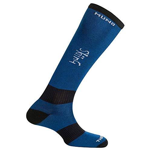 Mund Socks Chaussette de ski en fibre Thermolite® sans coutures, bleu, EU 46-49