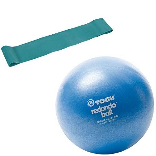 Togu Redondo Ball Pilatesball 22cm blau, im Set mit Fitnessband Theragym Loop Miniband, mittel