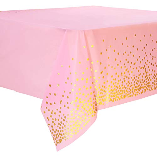 4 Piezas Mantel Desecheble Fiesta Oro Rosa 137 cm x 274 cm, Mantel Rectangular Dorado Cubierta de Mesa para Banquetes, Despedida de Soltera, Cumpleaños de Niñas, Baby Shower, 137 cm x 274 cm