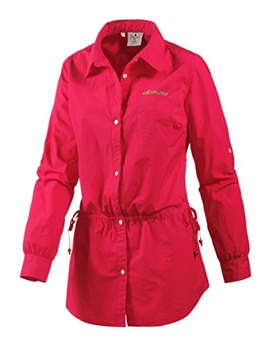 Chiemsee Damen Beach Long-Tunika schickes Langarm-Shirt Tunika Sommer Cleara Rot, Größenauswahl:M