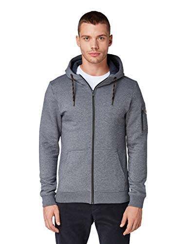 TOM TAILOR Herren Strick & Sweatshirts Strukturierte Sweatjacke Grey Grindle Structure,M