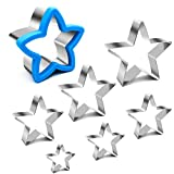 ANPOPO Star Cookie Cutters for Kid, 7 Piece Assorted Sizes Stainless Steel Star Shapes, Mini & Large Star Cookie Cutters, 1.57in, 1.97in, 2.36in, 2.76in, 3.15in, 3.54in, 3.94in