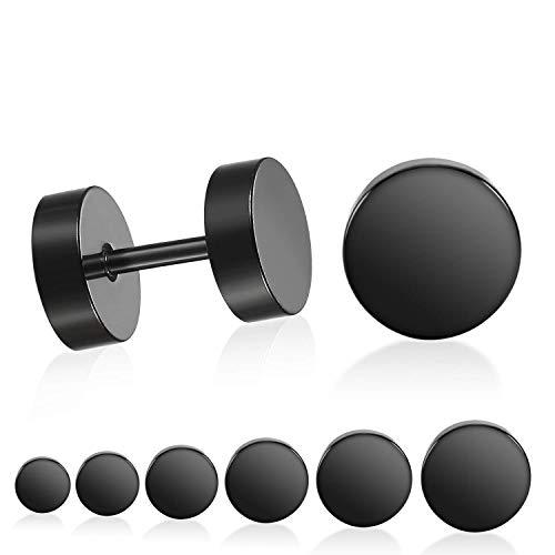 Pendientes de tornillo negro, CNNIK 3MM-10MM Acero Inoxidable Túnel de Oído Falso Tapones para los Oídos Calibradores Túnel de Ilusión para Hombres Mujeres 6 Pares