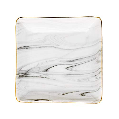 """Sweet Water Decor Square Grey Marble Jewelry Dish 