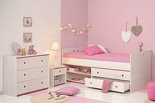 expendio Kinderzimmer Snoopy 23b Kiefer WeißKinderbett Nachttisch Kommode mädchenzimmer