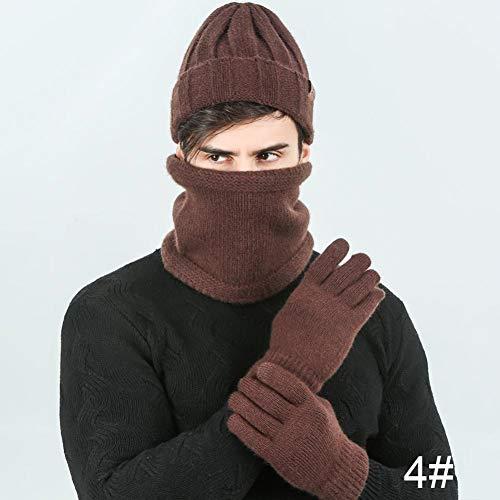 Maozijie heren gebreide wintermuts sjaal handschoenen set hoge kwaliteit warme mutsen aanrakbare handschoenen plus fluweel verdikte ring sjaal 3 stuks