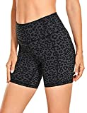 CRZ YOGA Women's Naked Feeling Light Running Shorts 6 Inches - High Waisted Gym Biker Compression Shorts with Pockets Leopard Printed 1 Small