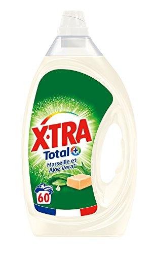 X•TRA Total+ Marseille – Lessive Liquide – 60 lavages (3L) – Savon de Marseille & Aloé Vera