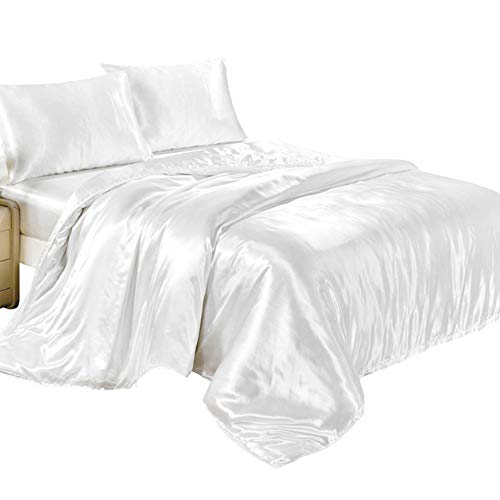 Duvet/Quilt Luxury Satin Charmeuse Sheet Set Silk Bedding Wrinkle Fade Resistant and Hypoallergenic Bedding Set (White, Double 1.5M)