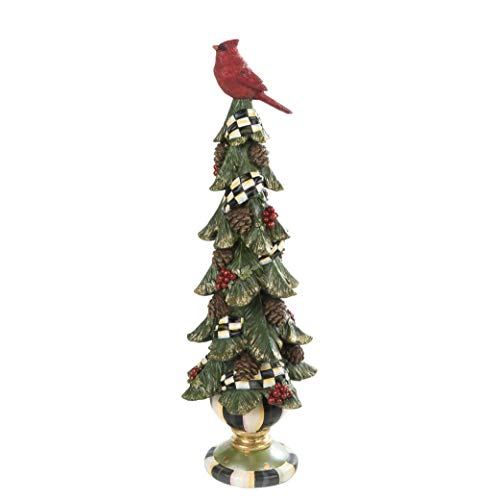 MacKenzie-Childs Christmas Cardinal Tree Figurine with Courtly Check Garland, Holiday Home Decor, Short