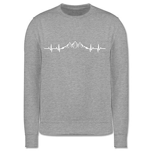 Shirtracer Anlässe Kinder - Berge Herzschlag - 152 (12/13 Jahre) - Grau meliert - Geschenk - JH030K - Kinder Pullover