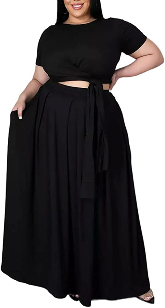 Ophestin Womens Plus Size 2 Piece Dress Outfits Solid Crop Top Maxi Skirts Set