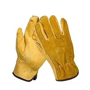 Renquen – Guantes de Trabajo de Piel a Prueba de espinillas, Resistentes al Agua, Ajustados, Reforzados, duraderos y Flexibles, 1 par
