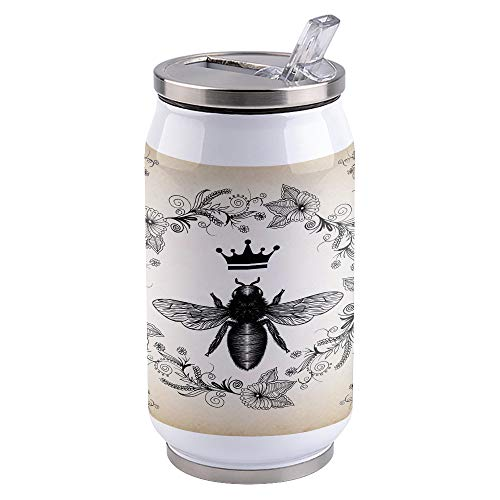 Bee Water Tumbler 300ml, Stainless Steel Vacuum Insulated Double Wall Travel Mugs, Thermal Cup with Splash Proof Sliding Lid, French Bee Garden Vintage Queen Floral