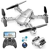 A10 Drone plegable con cámara HD 720P WiFi FPV, control por voz y gestos, inducción de gravedad, volo de tracción, modo sin cabeza, 360 Flips y retención de altitud, manejable para principiantes.
