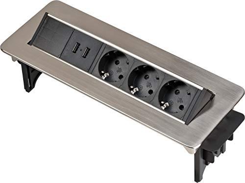Brennenstuhl Indesk Power USB-Charger Tischsteckdosenleiste / Versenkbare Steckdose 3-fach (2 USB Ladebuchsen, 2m Kabel) silber/schwarz