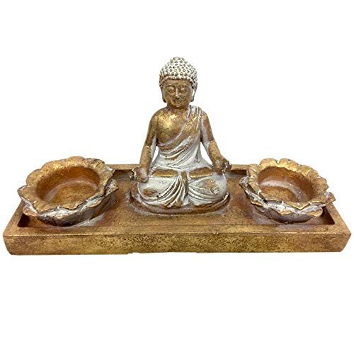 Sitting Meditating Buddha Statue Figurine with Lotus Candle Holder Burners, Buddhist Decor for Desk and Home, Zen Decoration (Gold Vintage Finish)