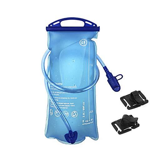 OFUN trinkblase 2L mit Beissventil, Trinkflasche Sport mit Großer Öffnung, auslaufsicher Wasserbehälter + Clip für Rucksack/Outdoor/Campen/Radfahren/Wandern, BPA-frei