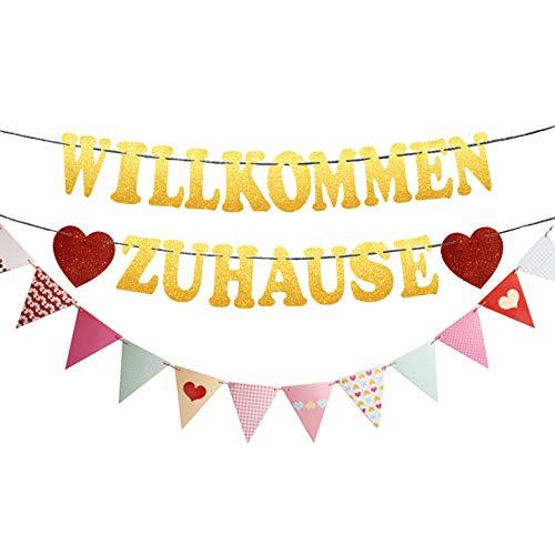 Willkommen Zuhause Girlande mit Bunt Wimpel Banner Herzlich Willkommen Zuhause Baby Deko für Familie Party Dekoration