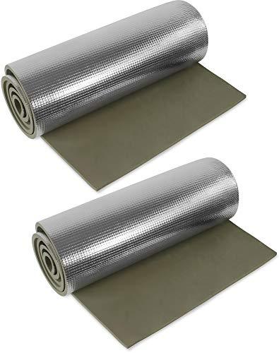 normani 1, 2, 3 oder 5 Ultraleichte Isomatten mit Aluminiumbeschichtung/Alu-Thermomatte Isomatte Farbe Oliv / 2 Stück
