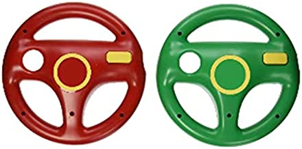 DOYO 2 pack Red and Green Wii Steering Wheel without Remote Control,Wii U Racing Wheel for Tanks and Other Driving Games