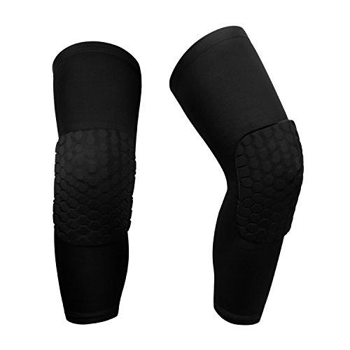 O-Best 2 Packs (1 Pair) Protective Compression Wear Breathable Honeycomb Knee Pads Crashproof Antislip Basketball Leg Knee Sleeve Protector Gear (Black, Large)