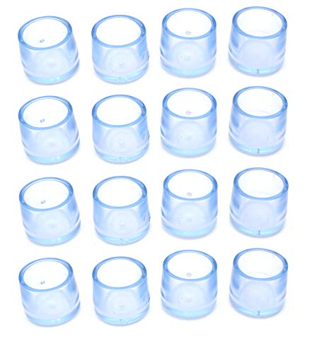 Antrader Non Slip Leg Tips Furniture Grippers Pads Floor Protector Sofa Rubber Chair Feet Table Leg Caps Round Dia fit 15/16' - 1' (2.3-2.5cm), 16 Pack, Clear