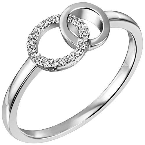 JOBO Damen Ring 585 Gold Weißgold 17 Diamanten Brillanten Weißgoldring Größe 58