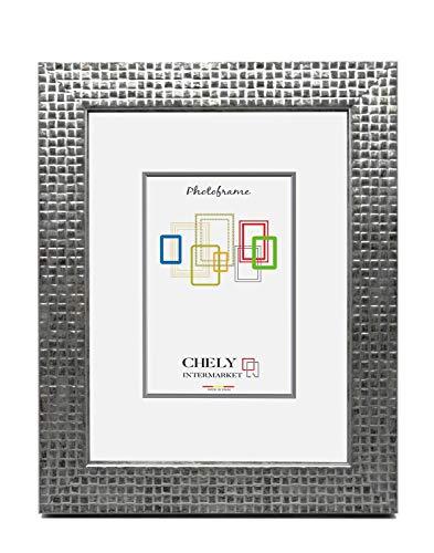 Chely Intermarket, Marco de Fotos 15x20 cm, Plateado Mate MOD-215| Estilo galería | Marco de Madera para Decoración de Casa | Fotografías de Boda | moldura con Relieve.(215-15x20-0,45)