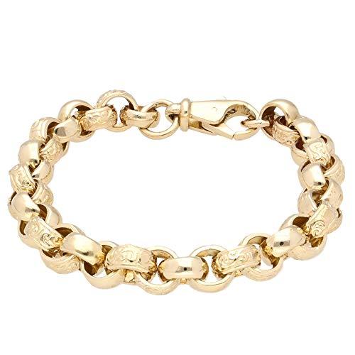 Jollys Jewellers Women's 9Carat Yellow Gold 8.5' Patterned Belcher Bracelet (9mm Wide)